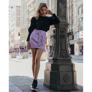 🆕 Purple Pleather High Waist Belted Mini Skirt